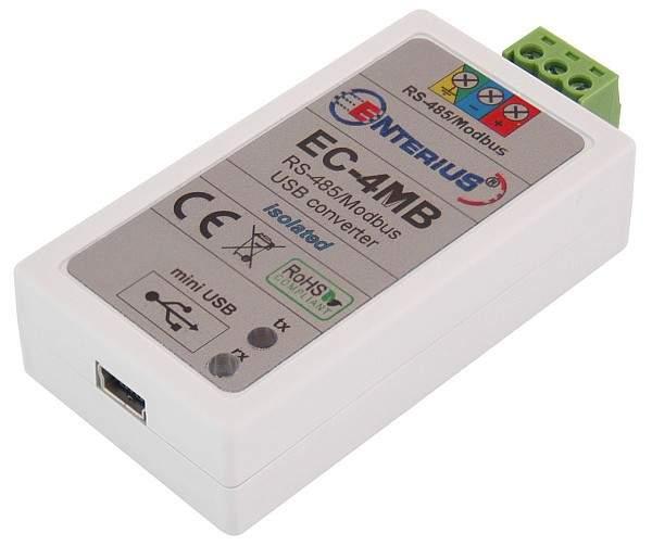 EC-4MB - konwerter USB Modbus (RS-485) pozwalający na sterowanie oświetleniem z komputera, tabletu lub telefonu